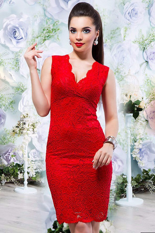 Гипюровое платье-миди, красное