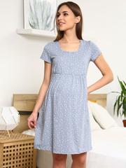Мамаландия. Сорочка для беременных и кормящих с кнопками короткий рукав, звезды/серый