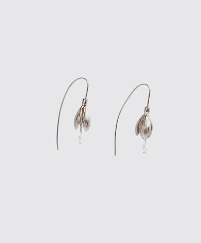 Серебряные серьги-подснежники с жемчугом