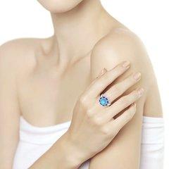 94011823- Кольцо из серебра с бирюзой и синими фианитами