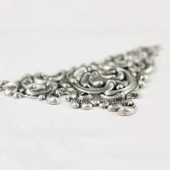 Винтажный декоративный элемент - штамп 92х50 мм (оксид серебра)