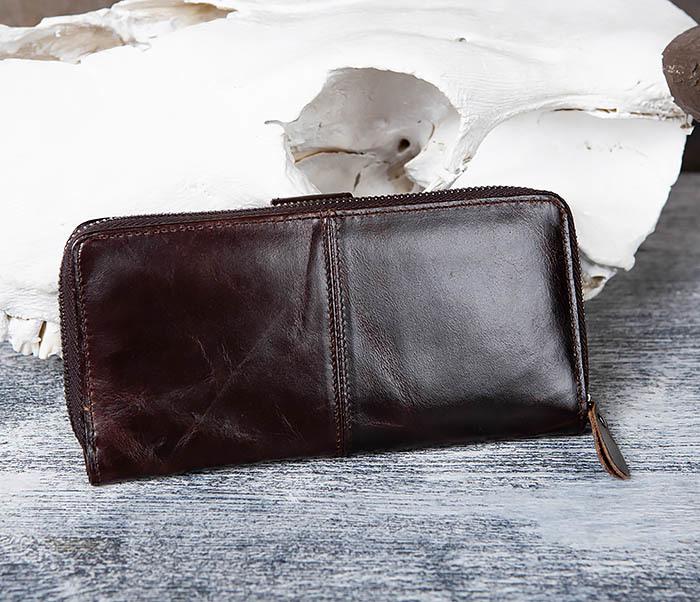 WL303-2 Мужской клатч из коричневой кожи на застежке фото 03