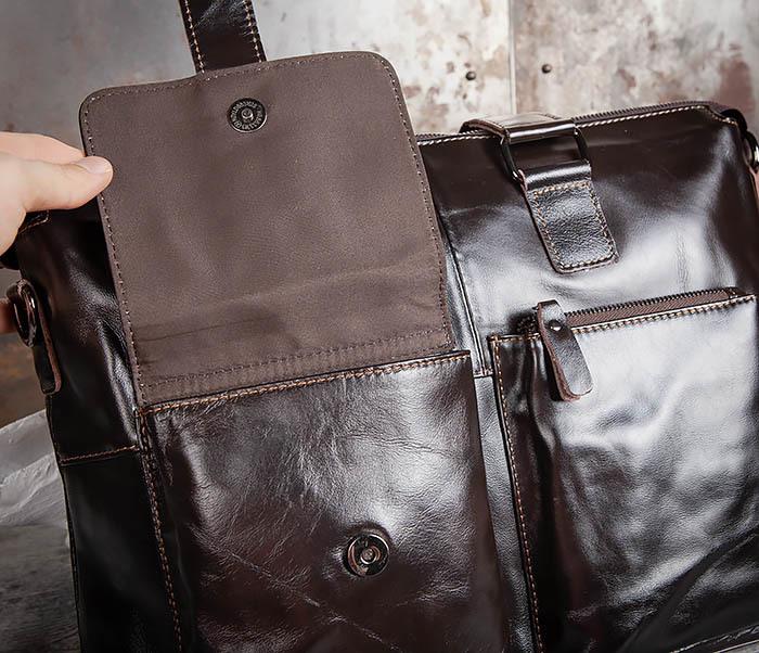 BAG457-2 Мужская кожаная сумка портфель с ремнем на плечо (под А4) фото 09