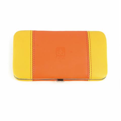 Маникюрный набор Dewal, 7 предметов, цвет желтый/оранжевый, кожаный футляр