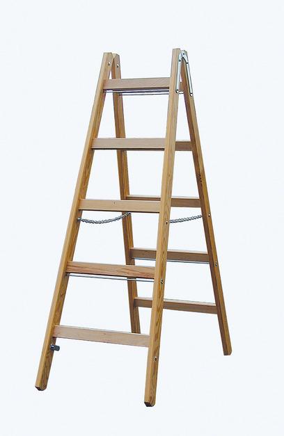 STABILO Двусторонняя лестница из дерева, с перекладинами, 2 х 5 перекладин