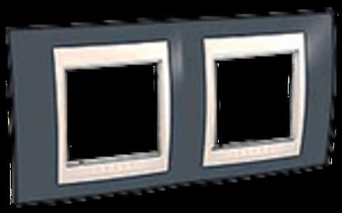Рамка на 2 поста. Цвет Серо-зеленый/бежевый. Schneider electric Unica Хамелеон. MGU6.004.577
