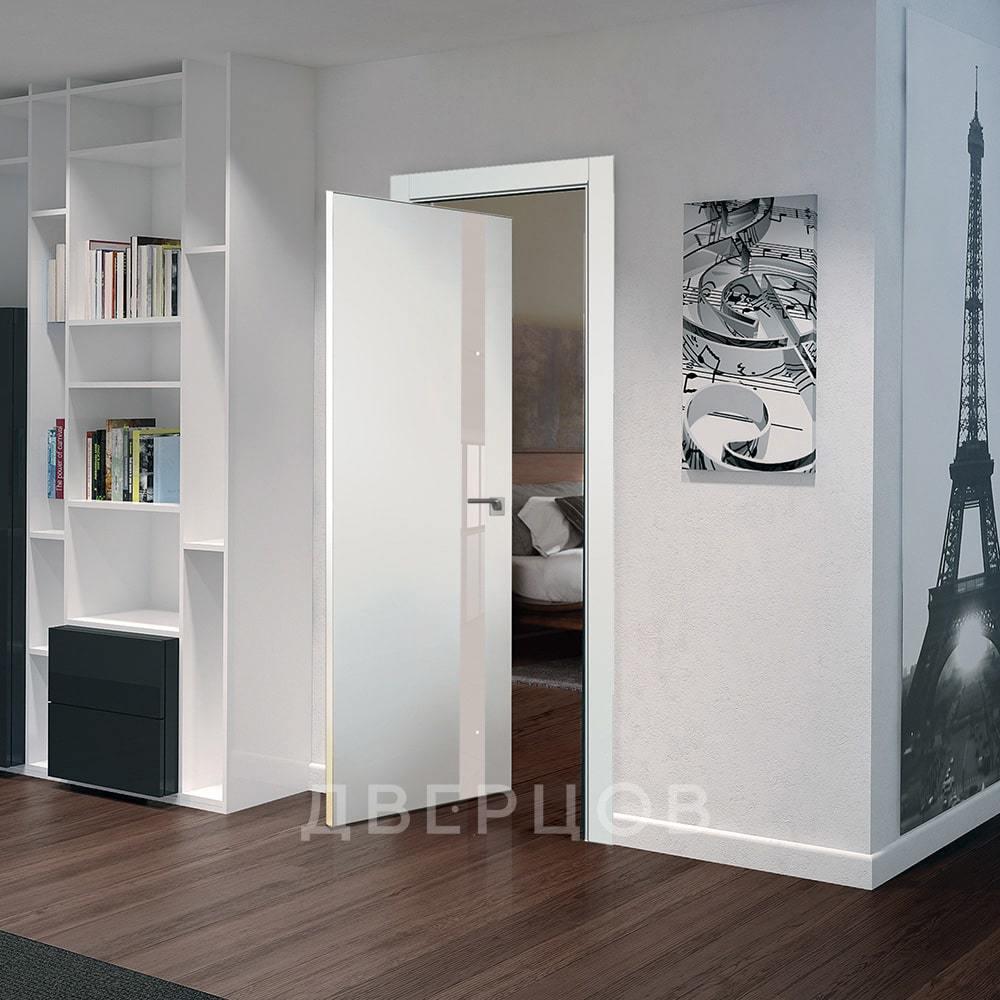 Современные двери модерн, хай-тек Рото дверь 6E дарквайт с перламутровым стеклом алюминиевая матовая кромка с 4-х сторон 6E-darkvayt-perlamutrovyy-lak-mat-khrom-dvertsov-min.jpg