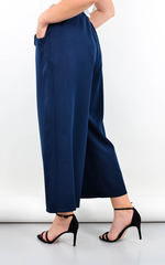 Клара. Офисные брюки плюс сайз. Синий.