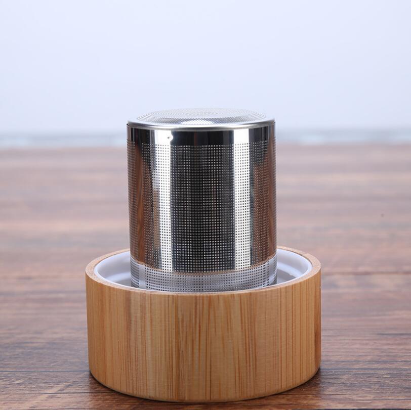 Чайная бутылка с двойным стеклом, ситечком, две крышки Бамбук 400 мл.