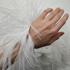 Премиум Тесьма  из перьев страуса на нитке в 2 слоя h 10-15 см., белый