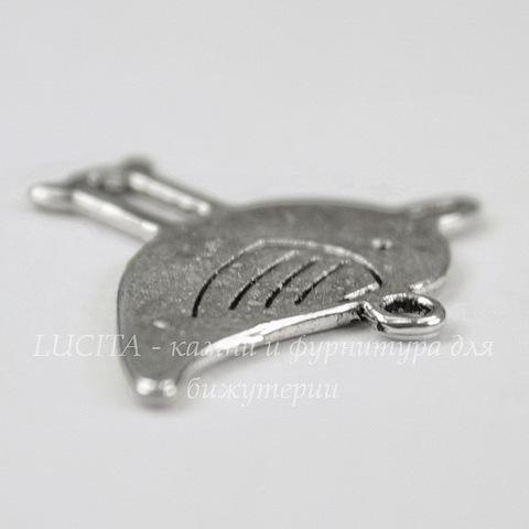 "Подвеска ""Птица"" (цвет - античное серебро) 27х33 мм"