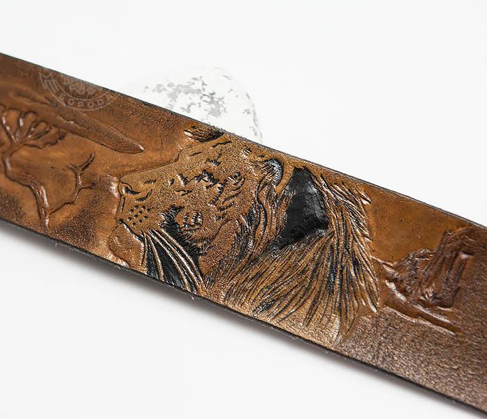 BL462 Мужской кожаный браслет со львом ручной работы фото 03