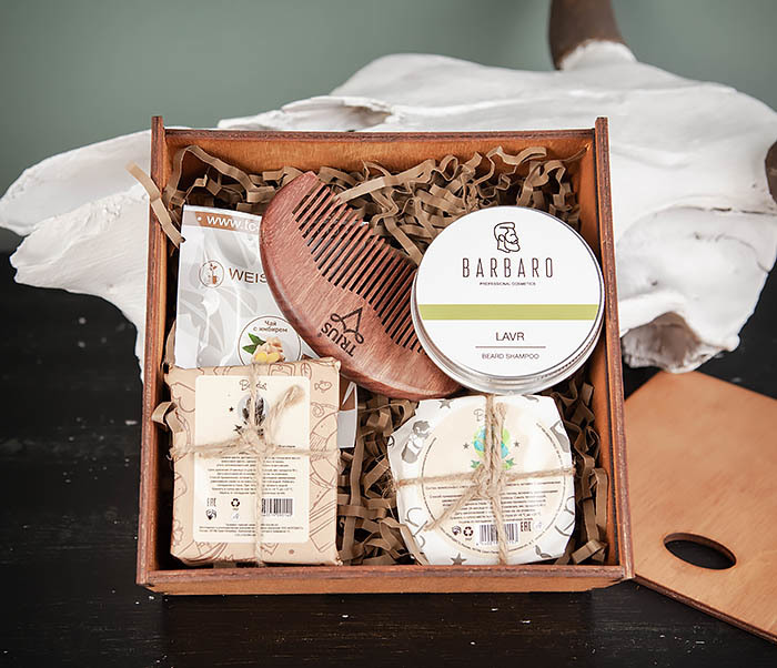 PSET105 Набор средств для ухода, мыло, шампунь, гребень и чай фото 02