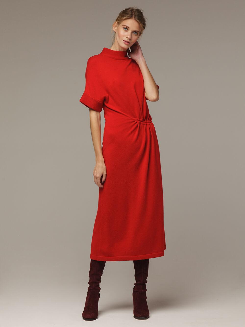 Женское красное платье из 100% шерсти - фото 1