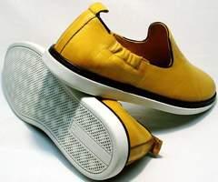 Модные летние туфли на плоской подошве King West 053-1022 Yellow-White.