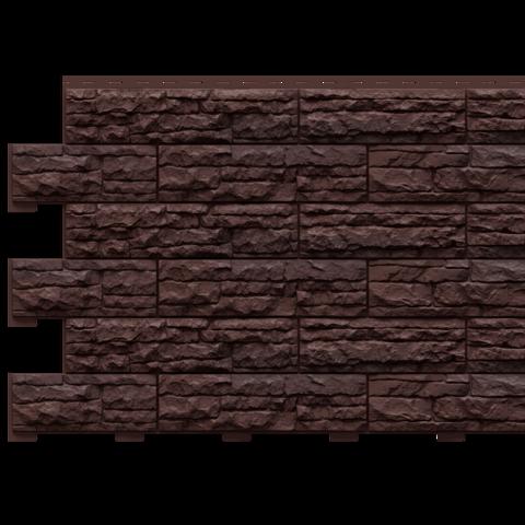 Фасадные панели (Цокольный Сайдинг) Доломит Скалистый Риф Премиум Каштан