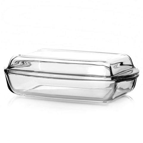 Кастрюля прямоугольная с крышкой 2,2 литра (1,3 и 0,9 л) Borcam 59019 жаропрочная стеклянная форма для запекания 28х16х5 см коробка