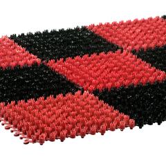 Коврик ТРАВКА, черно-красный, без подложки, 42*56 см