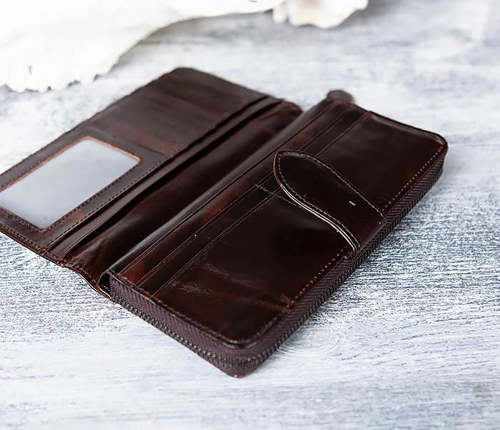 WL303-2 Мужской клатч из коричневой кожи на застежке фото 06