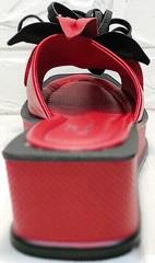 Шлепки с квадратным носком босоножки на квадратном каблуке Derem 042-921-02 Red Black.