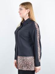 Габріела. Комбінована блуза великого розміру. Леопард беж.