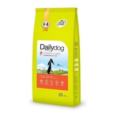 Сухой корм Dailydog Puppy Medium Breed Turkey and Rice для щенков средних пород с индейкой и рисом, 20 кг.