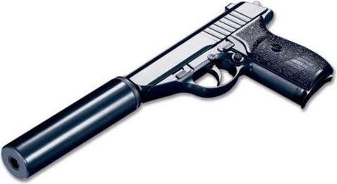Cтрайкбольный пистолет Galaxy G.3A Sig Sauer P230 mini металлический, пружинный с имитацией глушителя