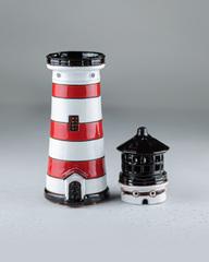 Красный маяк-подсвечник с секретной копилкой, 26х8 см, керамика, Литва