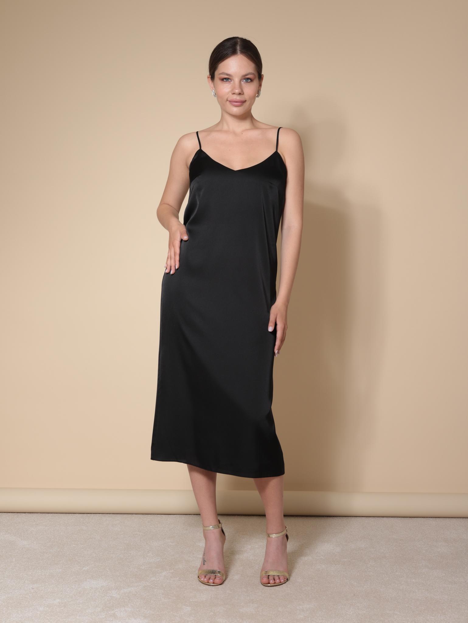 Платье-комбинация из шелка (черный)