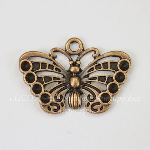 """Подвеска """"Бабочка"""" (цвет - античная медь) 26х18 мм"""