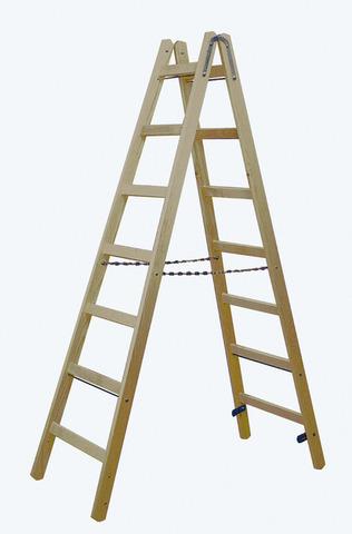 Двусторонняя лестница из дерева, с перекладинами, 2 х 8 перекладин