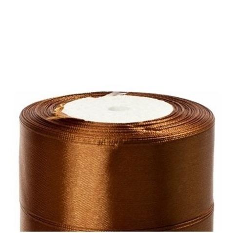Лента атласная (размер:40мм х 25 ярдов) Цвет:коричневый