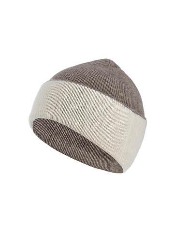 Женская шапка серо-коричневого цвета - фото 1