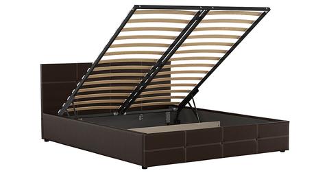 Кровать Синди 160 (арт. Марика 468 к/з шоколад)
