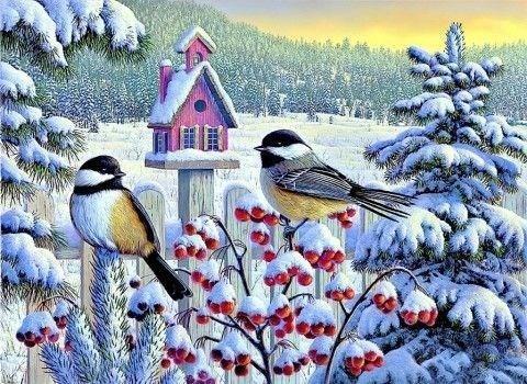 Картина раскраска по номерам 30x40 Снегири на заборе (арт. KTL1512)