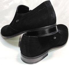 Мужские стильные туфли черные замша Ikoc 3410-7 Black Suede.