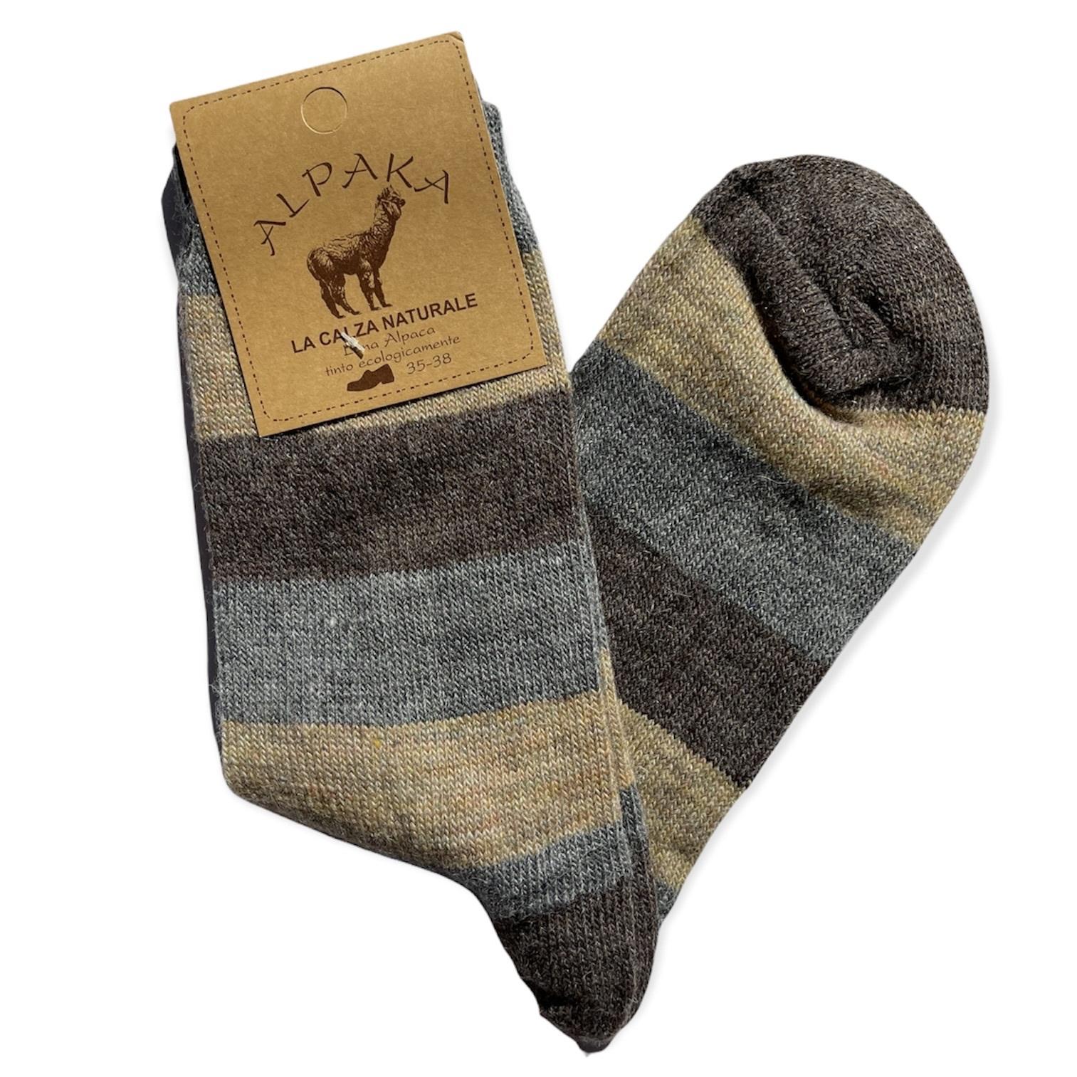 Носки 100% шерсть, серо-коричневая полоска, Италия
