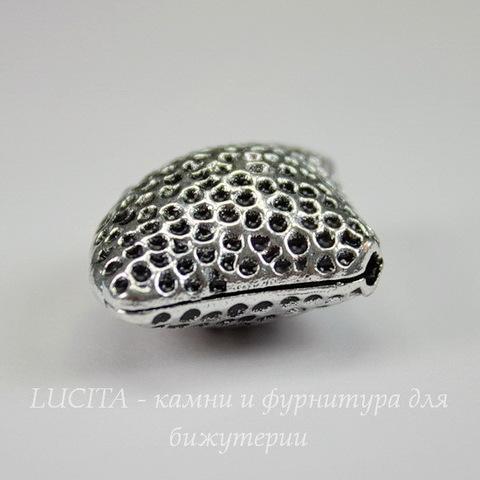 "Бусина металлическая ""Ракушка"" 28х21х12 мм (цвет - античное серебро)"