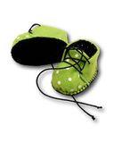 Ботиночки из фетра на подкладке - Зеленый / горох. Одежда для кукол, пупсов и мягких игрушек.