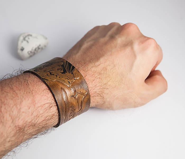 BL462 Мужской кожаный браслет со львом ручной работы фото 07