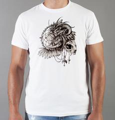 Футболка с принтом Лев (Lion) белая 0011