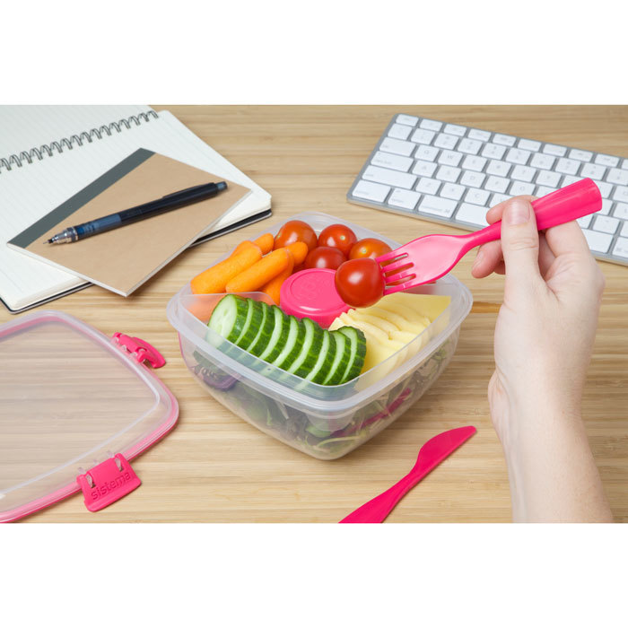 """Контейнер для салата с разделителями и приборами Sistema """"TO GO"""" 1,1 л, цвет Розовый"""