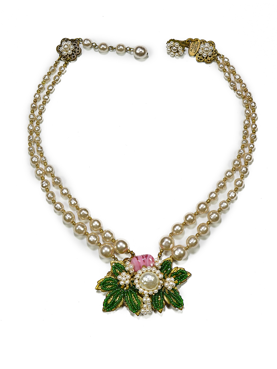 Luxurious necklace with white pearls, pink and green beads by Miriam Haskell