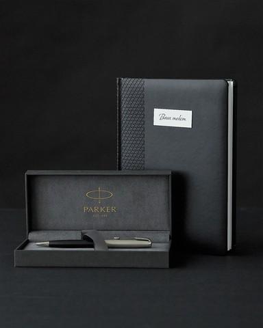 Подарочный набор с ручкой Parker Sonnet Entry Point Black Steel и ежедневником с индивидуальной гравировкой