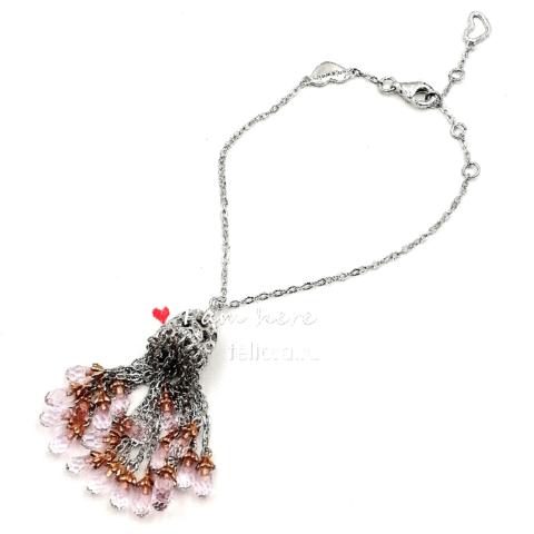 4821- Браслет Tassel с кисточкой из серебра с розовыми каплевидными цирконами
