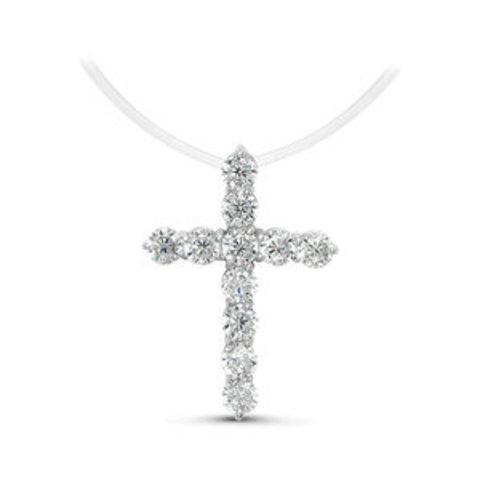 с070259- Крест с цирконами бриллиантовой огранки на леске-невидимке с серебряными замочками
