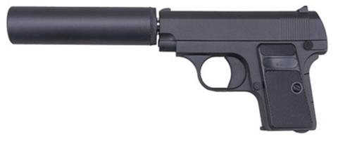 Cтрайкбольный пистолет Galaxy G.1A Colt 25 mini с имитацией глушителя, металлический, пружинный