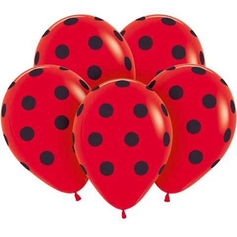 Красные шары, чёрные точки, 30 см