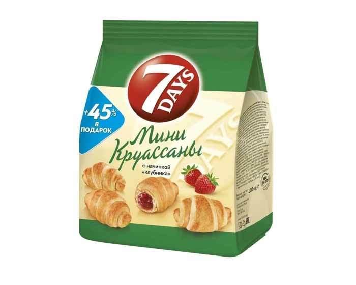 Мини круассаны «7DAYS» с начинкой клубника, 300 г