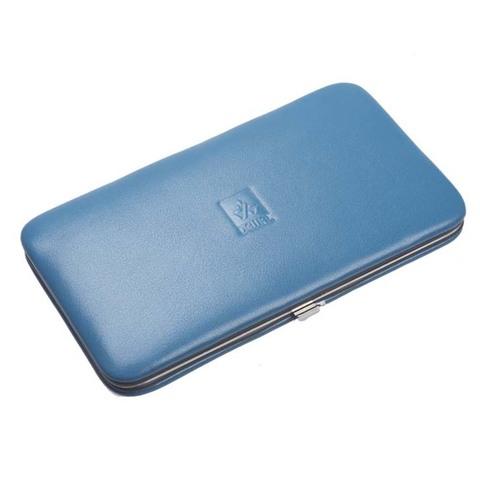 Маникюрный набор Dewal, 7 предметов, цвет голубой, кожаный футляр